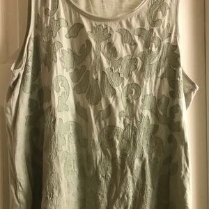 Chico's mint green embroidered tank top two tone.